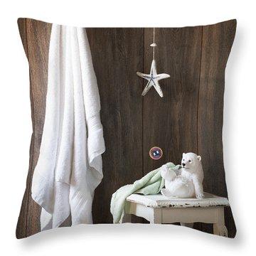 Nautical Bathroom Throw Pillow by Amanda Elwell