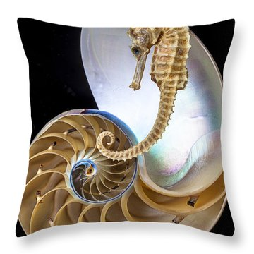 Nautilus With Seahorse Throw Pillow by Garry Gay