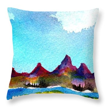 Needles Mountains Throw Pillow by Anne Duke