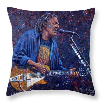 Neil Young Throw Pillow by John Cruse Knotts
