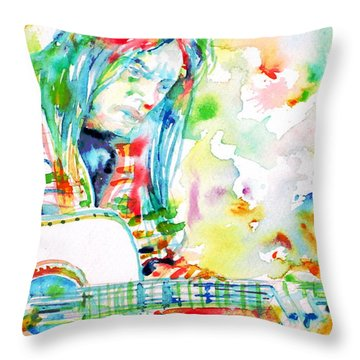 Neil Young Playing The Guitar - Watercolor Portrait.1 Throw Pillow by Fabrizio Cassetta