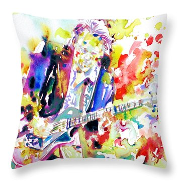 Neil Young Playing The Guitar - Watercolor Portrait.2 Throw Pillow by Fabrizio Cassetta