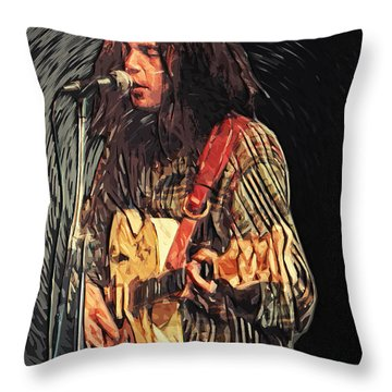 Neil Young Throw Pillow by Taylan Soyturk