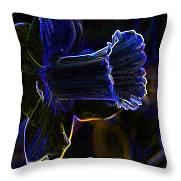 Neon Flowers Throw Pillow by Charles Dobbs