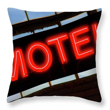 Neon Motel Sign Throw Pillow by Mike McGlothlen