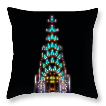 Neon Spires Throw Pillow by Az Jackson