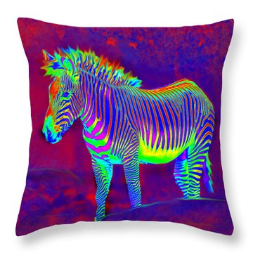 Neon Zebra Throw Pillow by Jane Schnetlage
