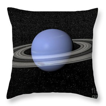 Neptune And Its Rings Against A Starry Throw Pillow by Elena Duvernay