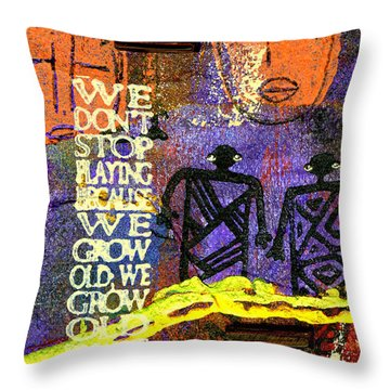 Never Stop Playing Throw Pillow by Angela L Walker