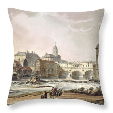 New Bridge, From Bath Illustrated Throw Pillow by John Claude Nattes
