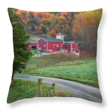 New England Farm Square Throw Pillow by Bill Wakeley