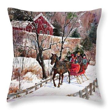 New England Sleighride Throw Pillow by Sherri Crabtree