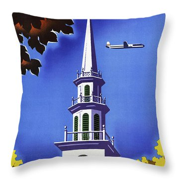 New England United Air Lines Throw Pillow by Mark Rogan