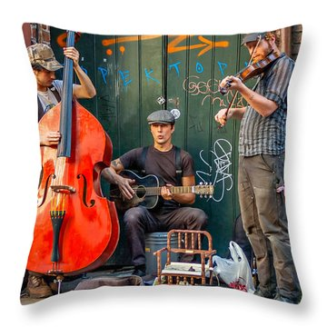 New Orleans Street Musicians Throw Pillow by Steve Harrington