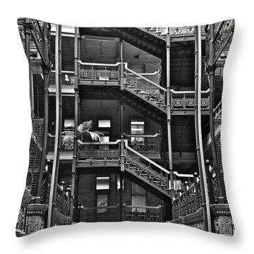 New Photographic Art Print For Sale Bradbury Building Downtown La Throw Pillow by Toula Mavridou-Messer