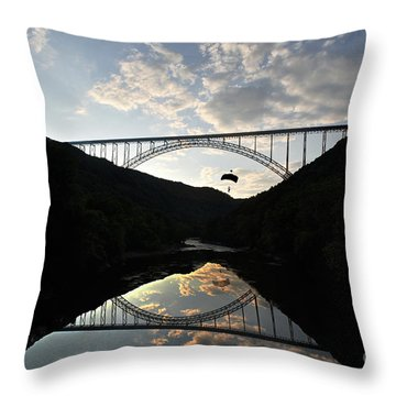 New River Bridge -  Base Jumper Throw Pillow by Dan Friend