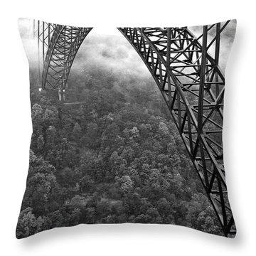 New River Gorge Bridge Black And White Throw Pillow by Thomas R Fletcher