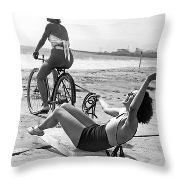 New Sport Of Ice Planing Throw Pillow by Underwood Archives