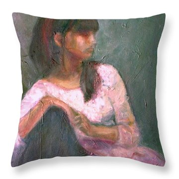 New Year's Blossom - Textural Original Oil On Canvas Portrait Throw Pillow by Quin Sweetman
