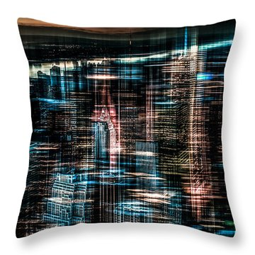 New York - The Night Awakes - Dark Throw Pillow by Hannes Cmarits