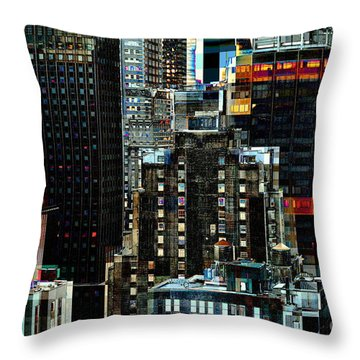 New York At Night - Skyscrapers And Office Windows Throw Pillow by Miriam Danar