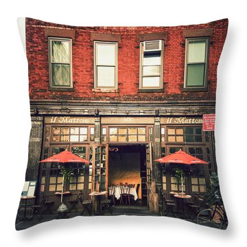 New York City - Cafe In Tribeca Throw Pillow by Vivienne Gucwa