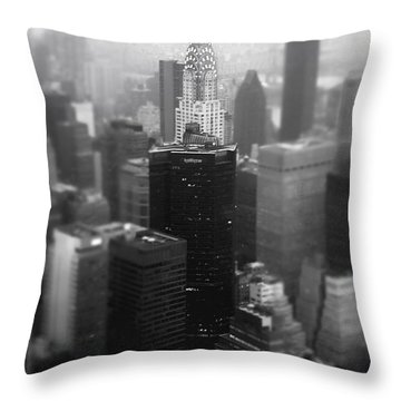 New York City - Fog And The Chrysler Building Throw Pillow by Vivienne Gucwa
