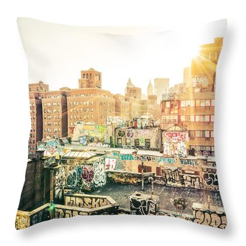 New York City - Graffiti Rooftops Of Chinatown At Sunset Throw Pillow by Vivienne Gucwa