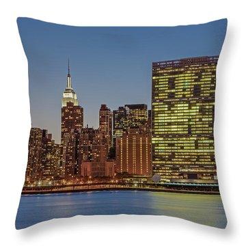 New York City Landmarks Throw Pillow by Susan Candelario
