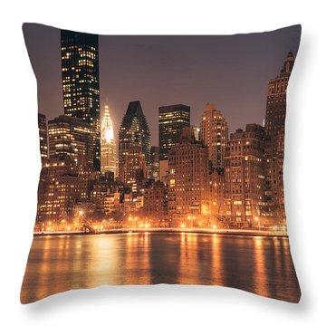 New York City Lights - Skyline At Night Throw Pillow by Vivienne Gucwa