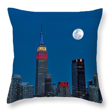 New York City Moonrise  Throw Pillow by Susan Candelario