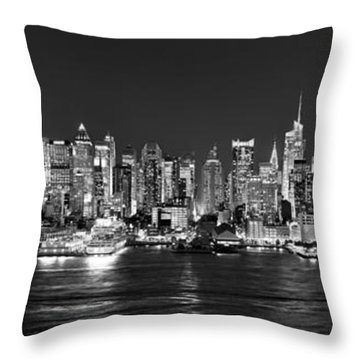 New York City Nyc Skyline Midtown Manhattan At Night Black And White Throw Pillow by Jon Holiday