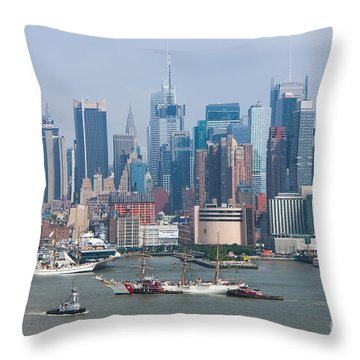 New York City Parade Of Sail I Throw Pillow by Clarence Holmes
