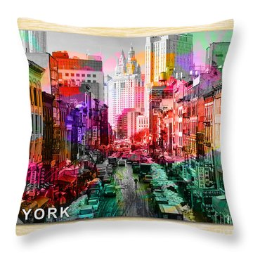 New York City Skyline Painting Throw Pillow by Marvin Blaine