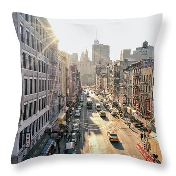 New York City - Sunset Above Chinatown Throw Pillow by Vivienne Gucwa