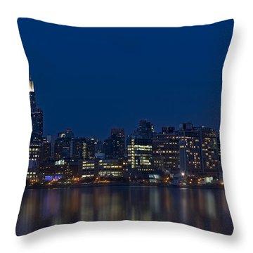 New York City Twilight Throw Pillow by Susan Candelario
