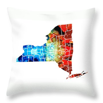 New York - Map By Sharon Cummings Throw Pillow by Sharon Cummings