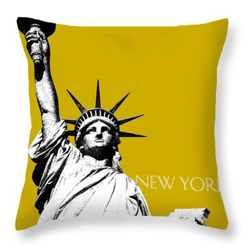 New York Skyline Statue Of Liberty - Gold Throw Pillow by DB Artist
