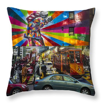 New York Street Scene Throw Pillow by Garry Gay