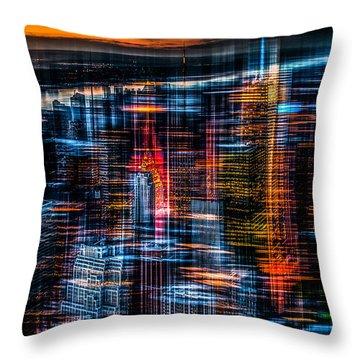New York- The Night Awakes - Orange Throw Pillow by Hannes Cmarits