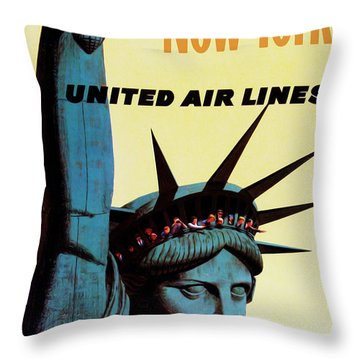 New York United Airlines Throw Pillow by Mark Rogan