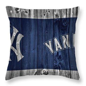 New York Yankees Barn Door Throw Pillow by Dan Sproul