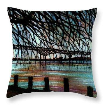 Newburgh - Beacon Bridge Night Sky Throw Pillow by Janine Riley
