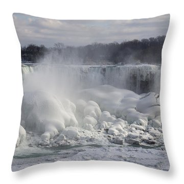 Niagara Falls Awesome Ice Buildup - American Falls New York State Usa Throw Pillow by Georgia Mizuleva