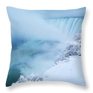 Niagara Falls In Winter Throw Pillow by Oleksiy Maksymenko