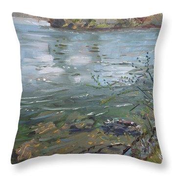 Niagara River Spring 2013 Throw Pillow by Ylli Haruni