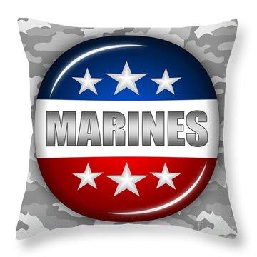 Nice Marines Shield 2 Throw Pillow by Pamela Johnson