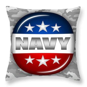 Nice Navy Shield 2 Throw Pillow by Pamela Johnson