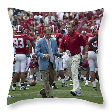 Nick Saban And The Tide Throw Pillow by Mountain Dreams