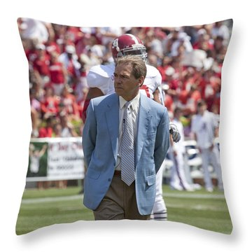 Nick Saban Head Football Coach Of Alabama Throw Pillow by Mountain Dreams
